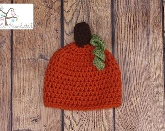 Newborn Pumpkin Hat - Newborn photography prop, newborn boy hat, newborn girl hat, crochet pumpkin toddler hat