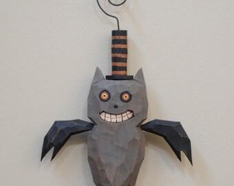 Happy Bat Primitive Folk Art Halloween Ornament