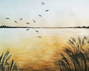 Birds flying above a lake warm yellow sunset 35/50 cm.