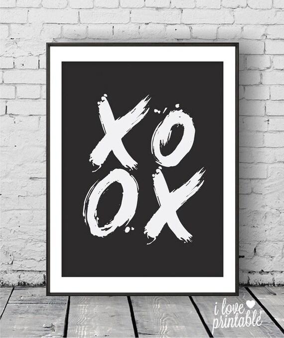 Printable Wall Art Xoxo Hugs And Kisses Modern By