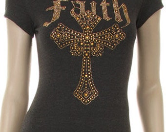 Faith Cross Gold Stud