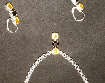 Steelers Black and Gold necklace and earring set