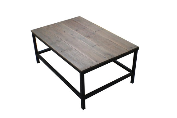 Handcrafted Coffee Table With Reclaimed Wood Top Metal Frame Painted