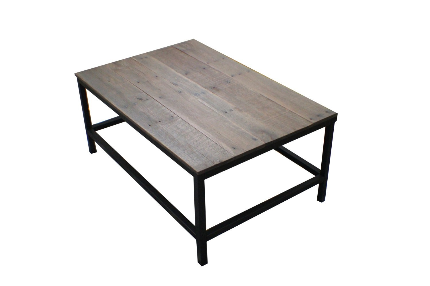 Handcrafted coffee table with reclaimed wood top metal frame Handcrafted coffee table