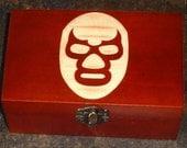 Lucha Libre Blue Demon Engraved (2) Shot Glasses + Wood Box Set Mexican Wrestling Gift