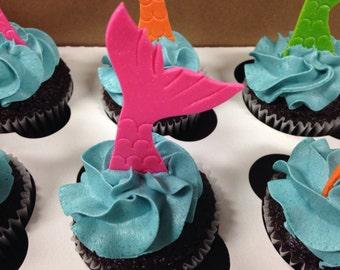 Mermaid Fondant Cupcake Toppers