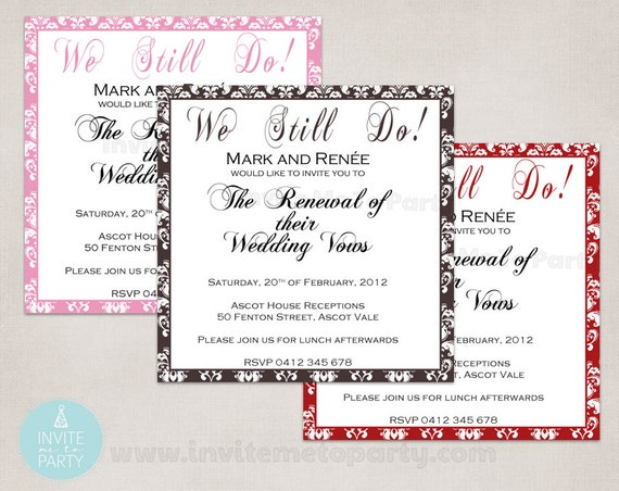Invitation For Renewal Of Wedding Vows: Vow Renewal Invitation / Wedding Invitation / Engagement