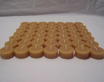 100% Beeswax Tealight Candles - 60 Tealight REFILLS - Free Ship!