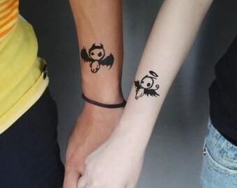 Art devil angel couple tattoos for lovers, romantic body art evil angel couple temporary tattoo for girlfriend