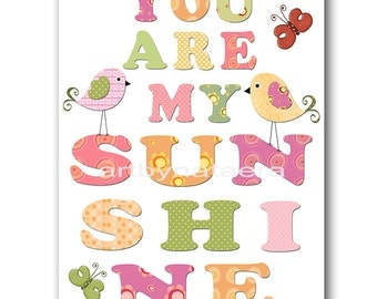 You are my sunshine Digital Print Printable Art Baby Girl Nursery Art Children Art Kids Print Kids Wall Art 8x10 11X14 INSTANT DOWNLOAD rose