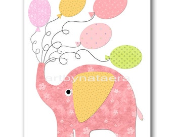 Elephant Nursery Art for Children Printable Digital Print Baby Girl Nursery Print Digital Download Print 8x10 11X14 INSTANT DOWNLOAD rose