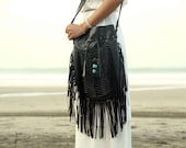 Black leather bag, leather fringe bag, boho bag, bohemian bag, gypsy bag