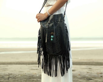 ON SALE Black leather bag, leather fringe bag, boho bag, bohemian bag, gypsy bag
