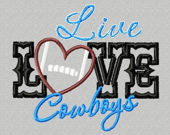 4X4 Live LOVE Cowboys football Embroidery design