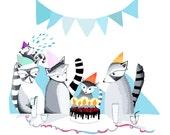 Raccoon Birthday Party Print