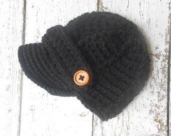 Newborn baby hat, Crochet newsboy hat , in black color and 74 colors to choose,crochet baby boy hat for photo prop