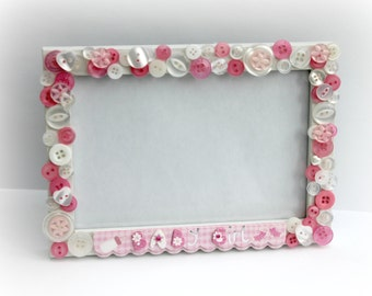 Baby Girl Button Photo Frame New Baby Its A Girl Celebration Gift Idea