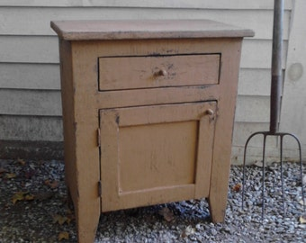 Primitive Nightstand or End Table with Drawer