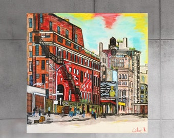Peinture abstraite new york city art moderne pastel toile for Decoration murale vue sur new york