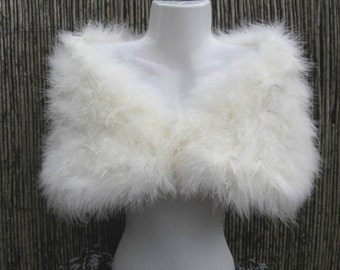 Ivory / Bridal White Marabou Feather Shrug / Stole / Shrug - Two Sizes
