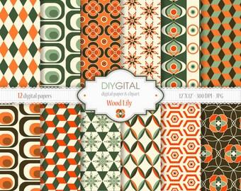 Wood Lily Digital Paper Set - 12 Printable patterns for scrapbooking, invites, cards - Instant Download