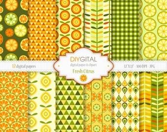 "Fresh Citrus Digital Paper Set - 12 Printable digital papers for scrapbooking, invites, cards - 12""x12"" - 300dpi- Instant Download"