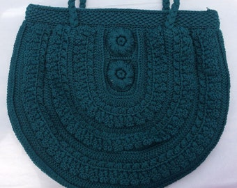 A Special Handmade Blue Woolen  Fully Lined Bag