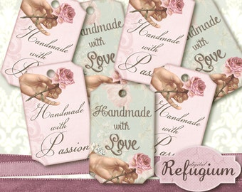 Tags Handmade with Digital Collage Sheet INSTANT DOWNLOAD