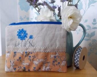 Handmade cosmetic makeup bag / purse hare blues linen gift