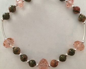 Bracelet of silver with imitation stones Jasper and pink Crystal rhinestone