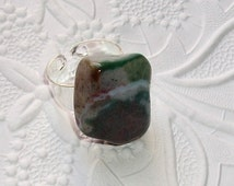 Jasper Fancy Tumbled Stone Ring, White, Green, Purple, Statement Ring, , Earthy Ring, Trendy Ring, Spicy, Cool Ring