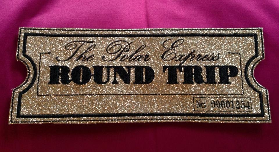 POLAR EXPRESS Golden Glitter Ticket Stocking by InspireEmbroider