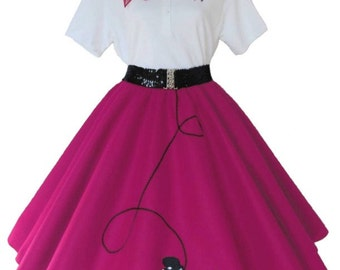 Womens - 4 pc 50's POODLE SKIRT OUTFIT for Adult s m l xl 2x 3x - Choose size/color