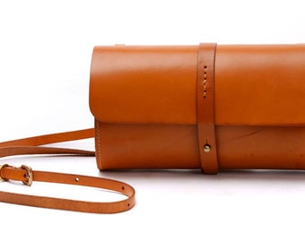 "11""Women Genuine Leather Crossbody Bags Ladies Orange Flap Simple Shoulder Satchel,Envelop Clutches,Handbag,Wallet,Messenger Purses"