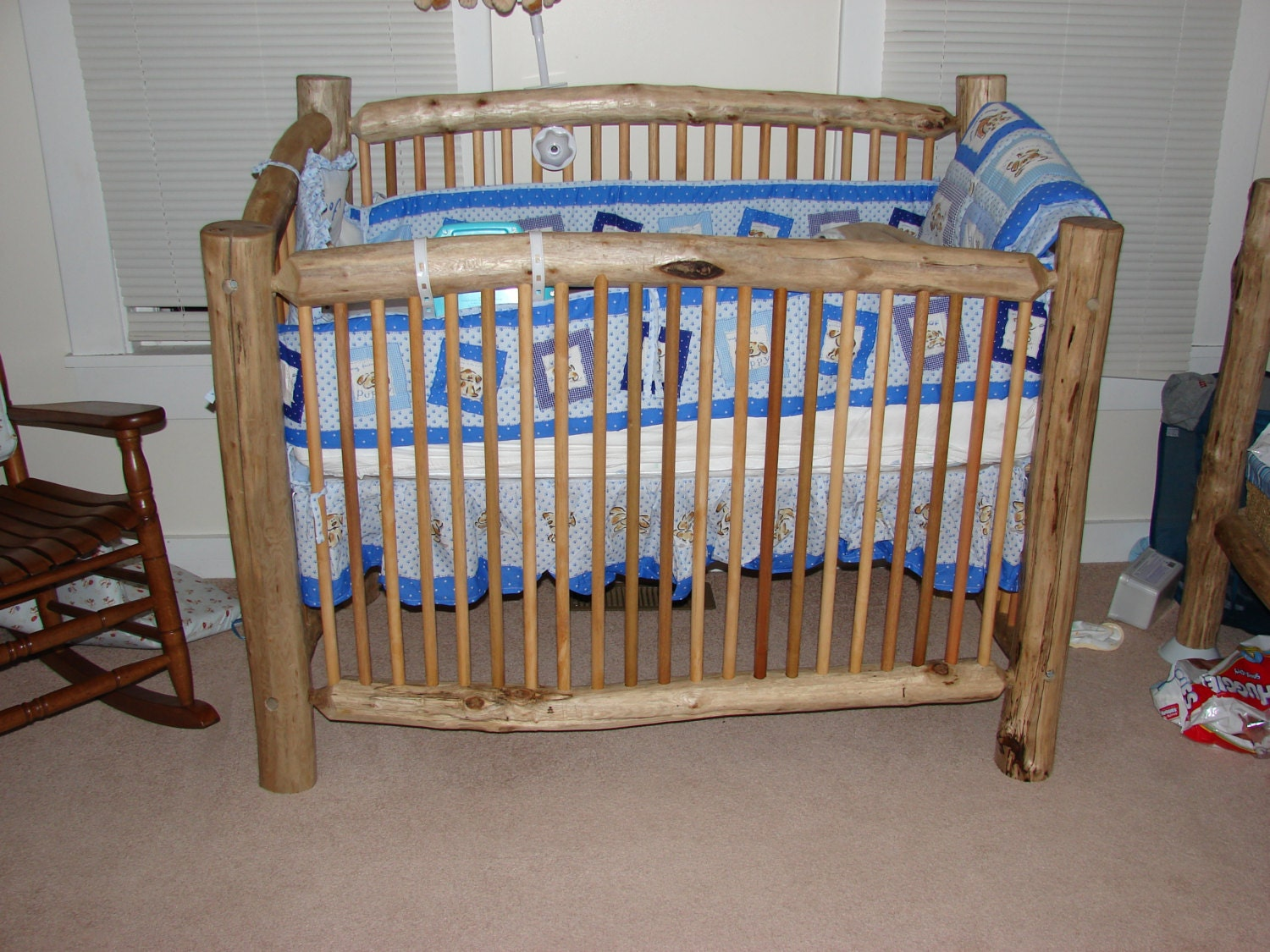 unique rustic hand crafted log baby crib by krshomefurnishings