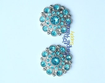 5 pc turquoise rhinestone buttons, turquoise rhinestone button, 28mm rhinestone button