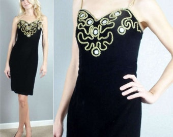 Vintage 80s 1980's Glam Black Velvet Gold Rope Accents Party Dress XS-S