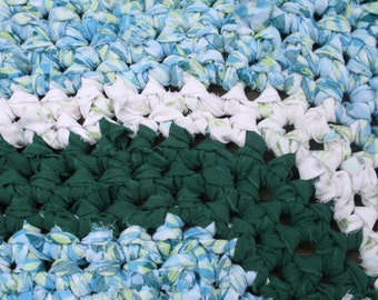 Crochet Rag Rug in Green, Blue and White