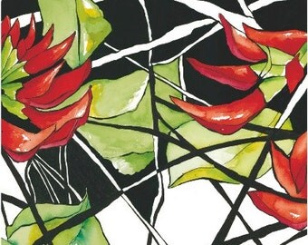 Black and White and Red illustrated ink and Wash Blank Gift card - ' Flame Tree 2'
