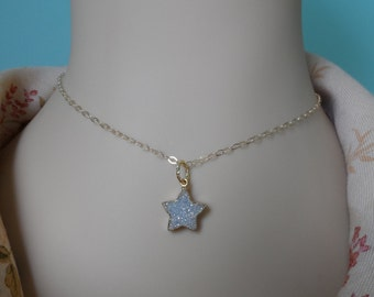 Druzy Star and Gold Necklace