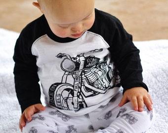 Boy Leggings Baby Leggings Toddler Leggings Black and White Leggings Motorcycle Leggings Motorcycles Leggings