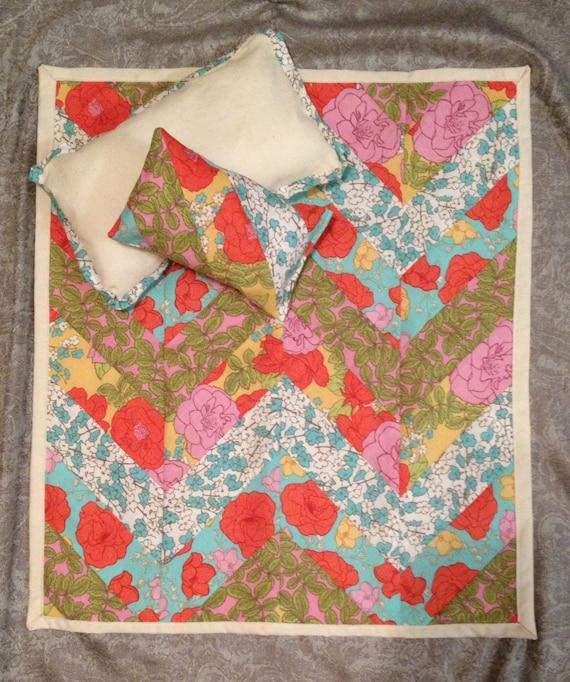 Doll Quilt Set - Chevron Quilt with 2 Matching Pillows