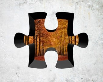 3D Jigsaw Full Autumn Woods Trees Wall Art Sticker Decal Bedroom Graphic Wall Stickers WSD304