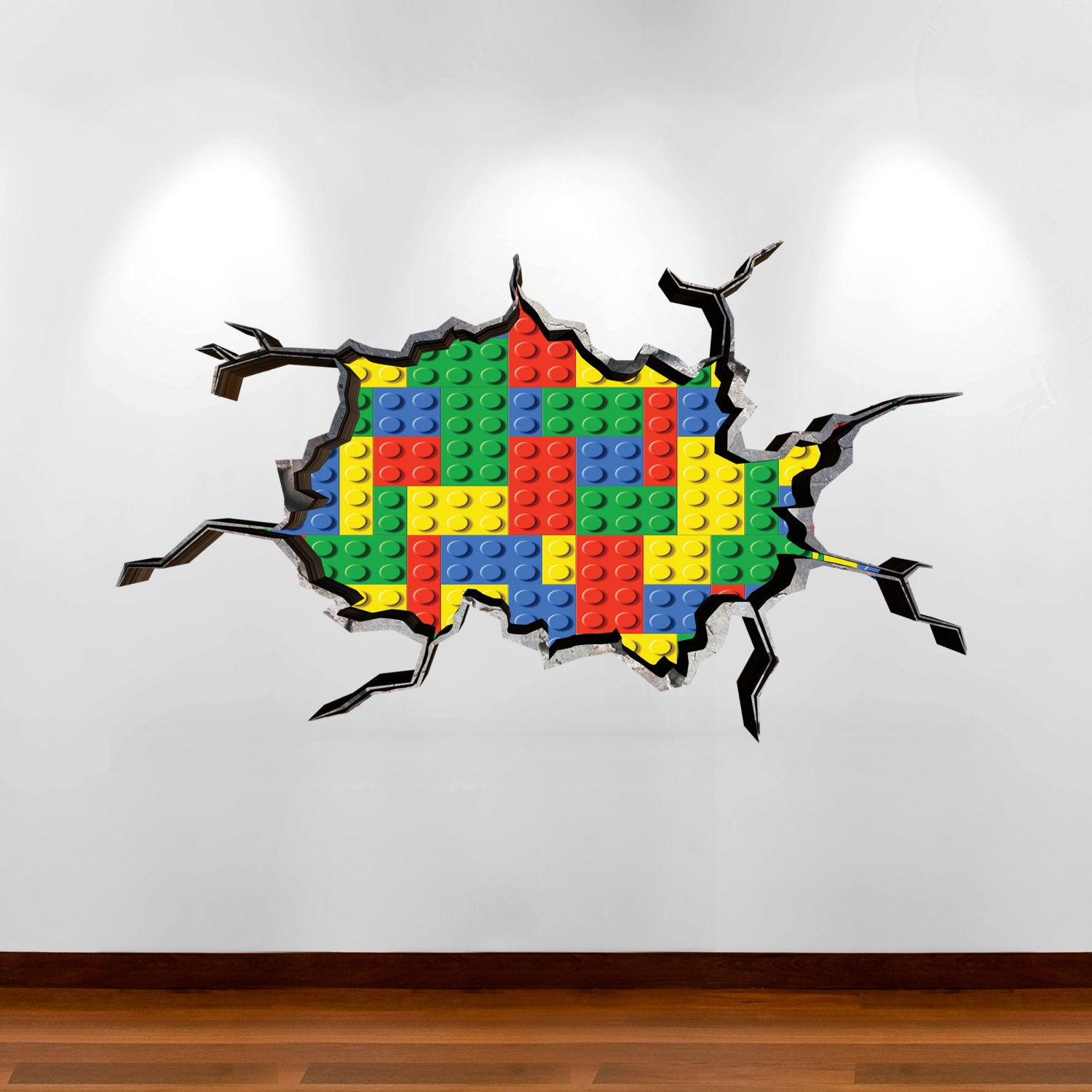 Wall decals stickers full colour building blocks coloured - Lego wandtattoo ...