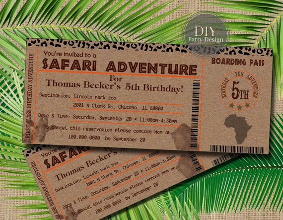 Safari Ticket Birthday Invitation Baby Shower Invitation