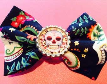 SALE!! sugar skull bottlecap bow