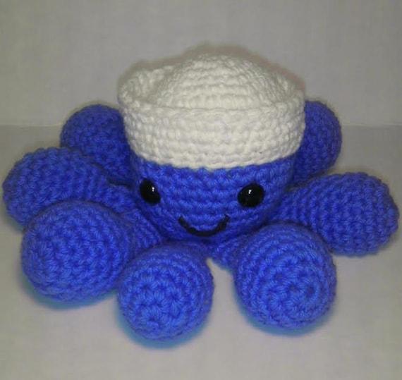 Items similar to Amigurumi Sailor Octopus, crochet stuffed ...