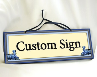 Custom Signs with Trains in Cream, Gray & Blue. Door Sign. Children Sign. Nursery Decor. Boys Room. Personalized Name Sign. Kids Sign