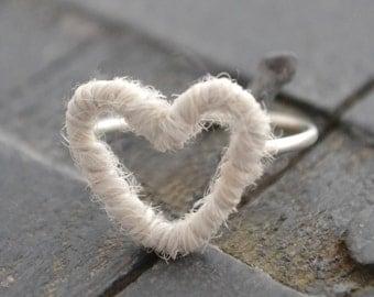 Silver & Wool Heart Ring