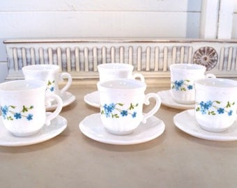 set of 6 coffee cups and saucers made of beautiful, solid milk glass by arcopal